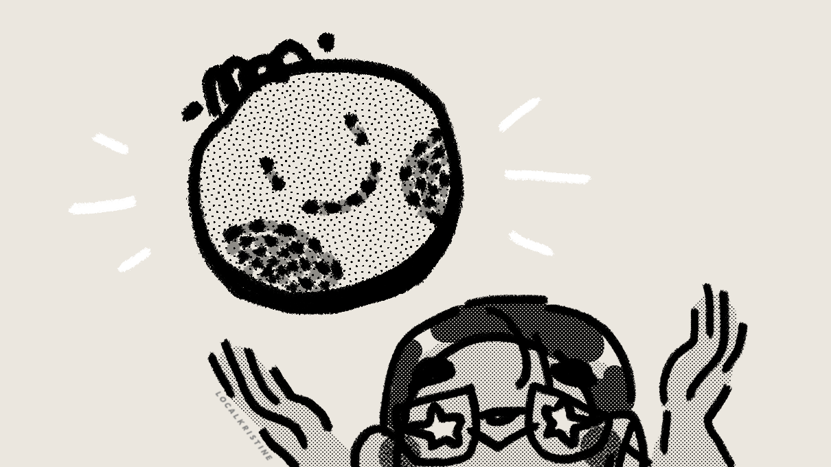 drawing of girl in glasses with star eyes, hands up, towards a floating circle with a stitched smileyface.
