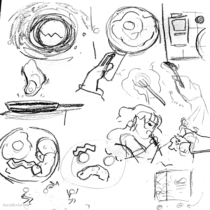 Sketches of breakfast, cooking and eating eggs.