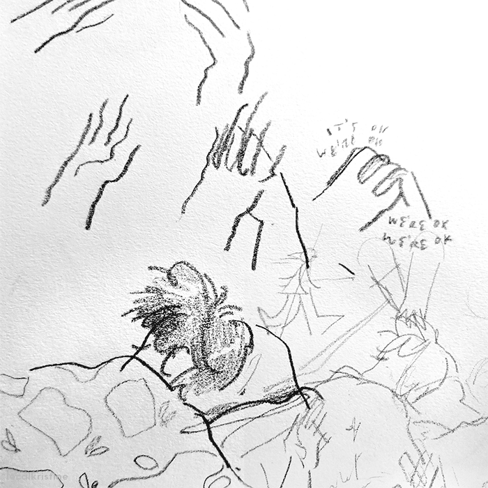 Sketches of holding hands and a sleeping boy.