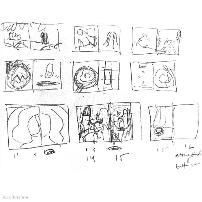 Zine layout sketches.