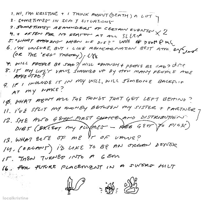 Handwritten text labelled 1 to 16, showing the zine script